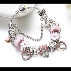 Jewelry - NEW silver plated crystal beaded charm bracelet